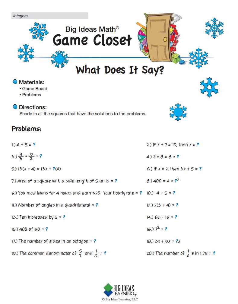 What Does It Say Integers Big Ideas Math Kindergarten Math High School Math Games [ 1008 x 789 Pixel ]