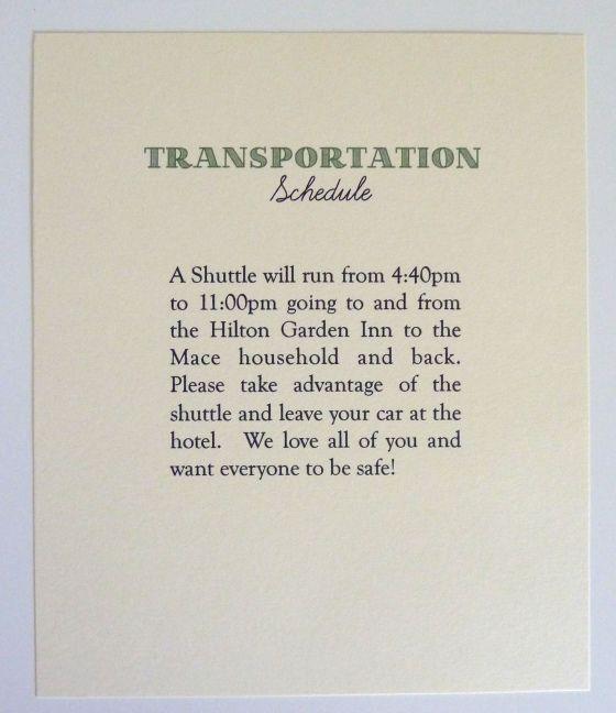 Wedding Transportation Schedule