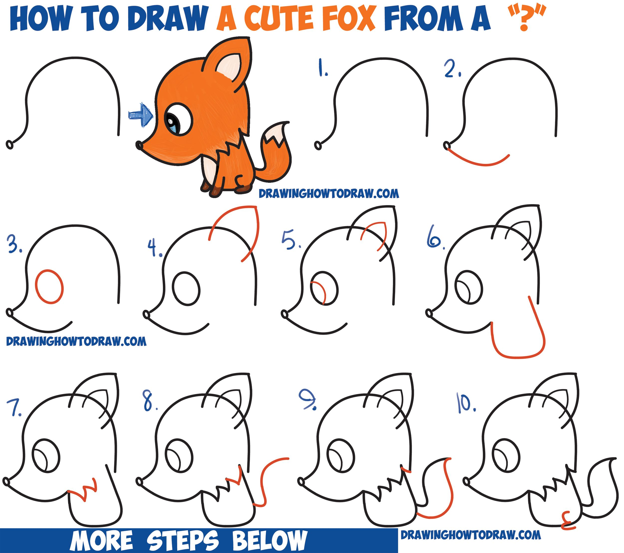 how to draw a cute cartoon fox from a question mark kawaii chibi - Cartoon Drawings Of Children