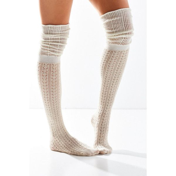Tonal Scrunchy Over-The-Knee Socks (€12) ❤ liked on Polyvore featuring intimates, hosiery, socks, ivory, lace hosiery, slouch socks, lacy socks, slouchy socks and above the knee socks
