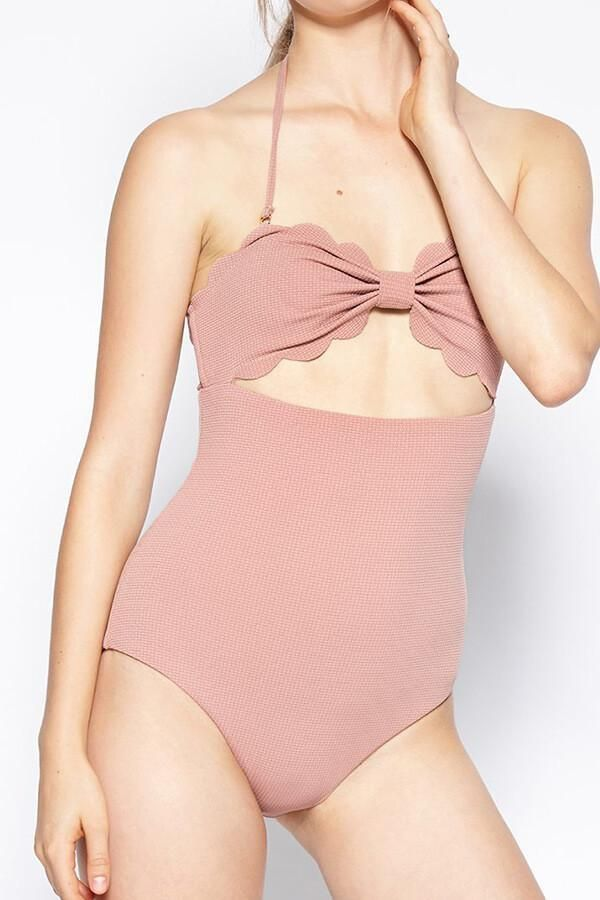 55abe7f4072a4 Floralkini Solid Color Bow Knot Cut Out Halter One Piece Swimsuit ...