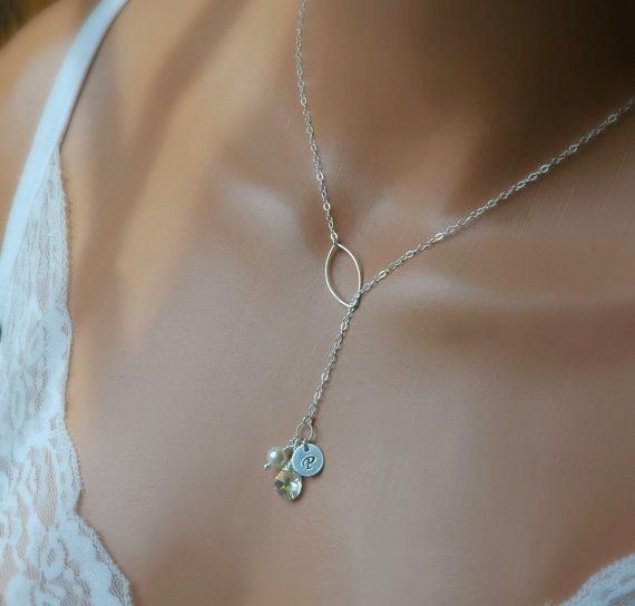 Sterling silver personalized lariat style necklace initial tobys birthstone personalized necklace hand stamped initial birthstone jewelry mothers necklace mozeypictures Choice Image