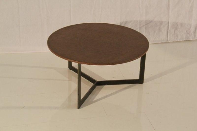 Gestell Metall anthracite / Platte Eiche Wenge gebeizt         Maße : Durchmesser 60cm  / H 30cm