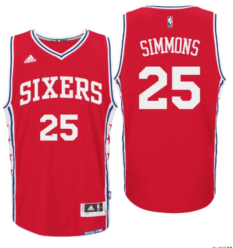 c0d59e24d 2016 Draft 76ers  25 Ben Simmons Home Red Swingman Jersey ...