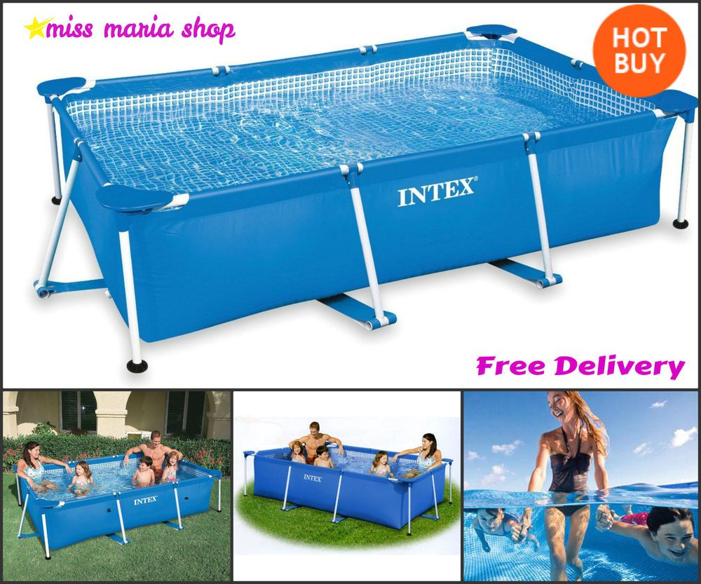 Paddling Pool Family Swimming Framed Rectangle Garden Fun Summer Patio Large New Large Paddling Pool Summer Patio Pool