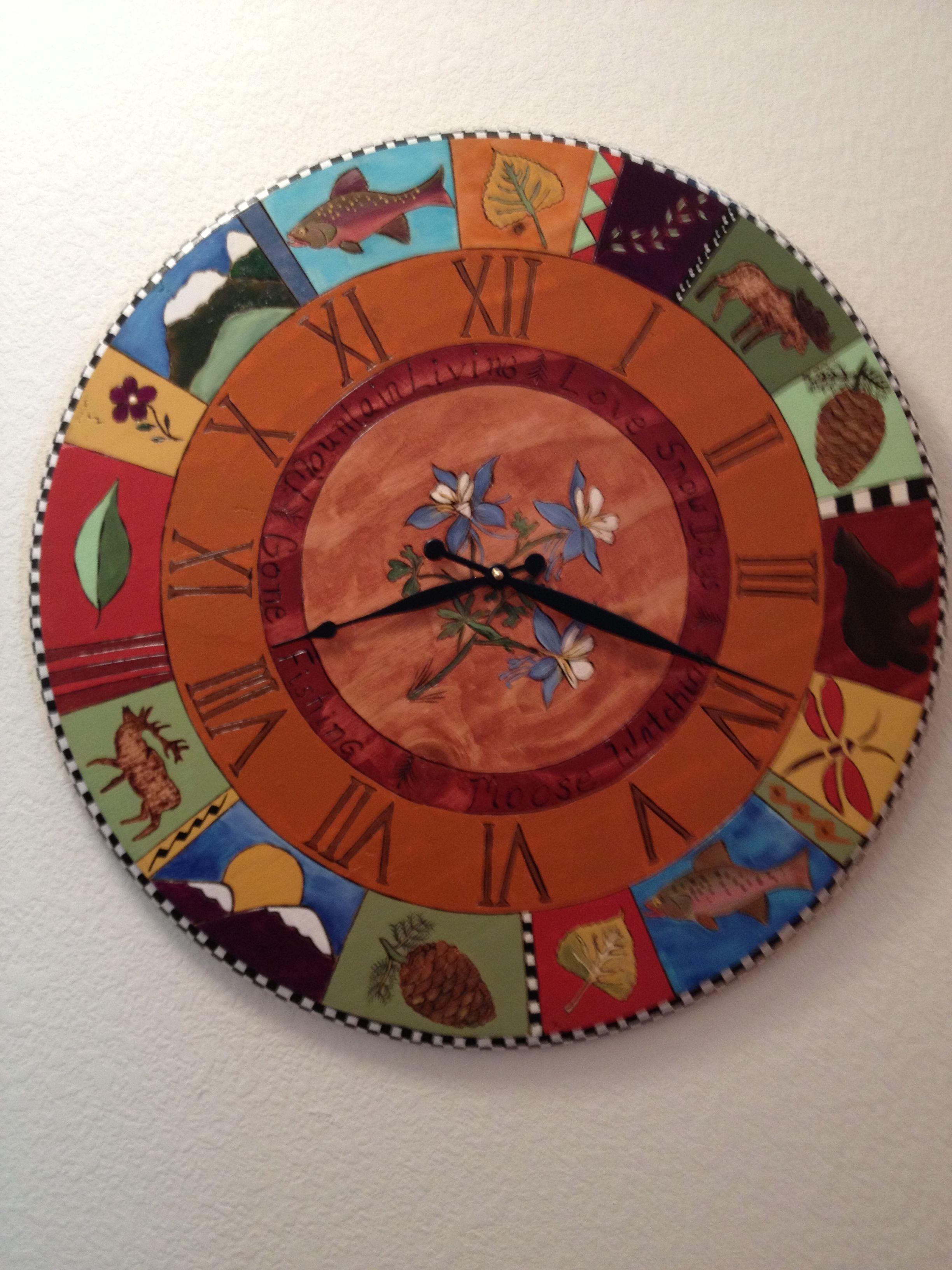 Loved Making This Mountain Theme Clock 24 Round Solid Wood Ninasartdesigns Com Kokopelli Art Funky Furniture Fused Glass