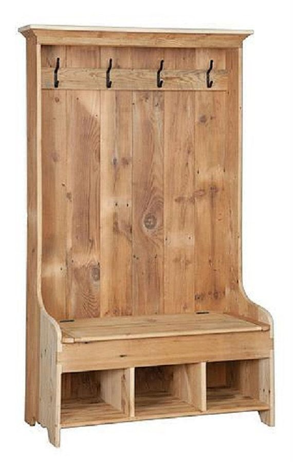 Reclaimed Barn Wood Hall Tree Coat Rack With Cubby Storage Bench Pine Unfinished 43 Wx21 Dx72 H