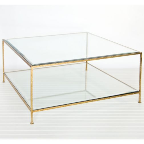 Square Glass Coffee Table Gold 1