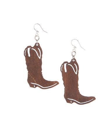 Look what I found on #zulily! Brown Cowboy Boot Drop Earrings #zulilyfinds
