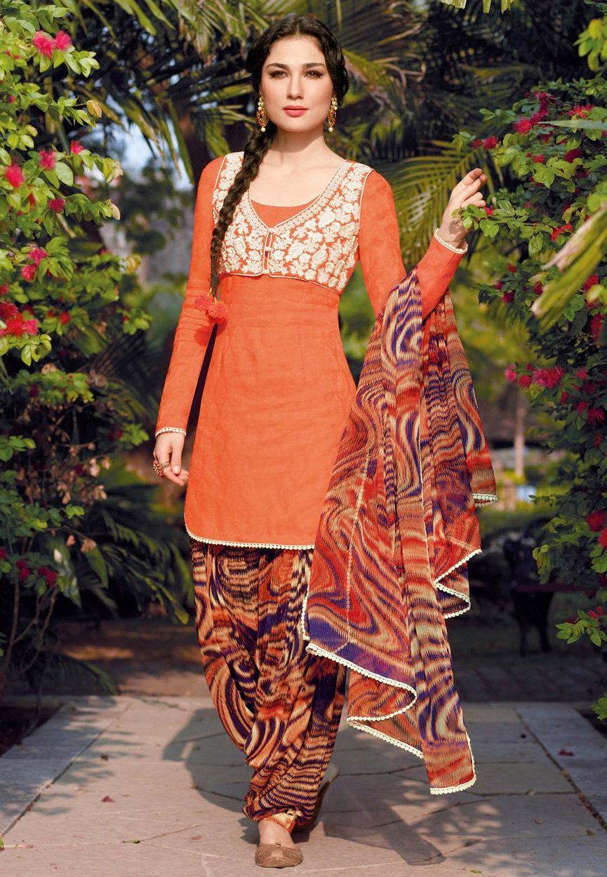 Orange cotton patiala kameez online shopping kwy suits n