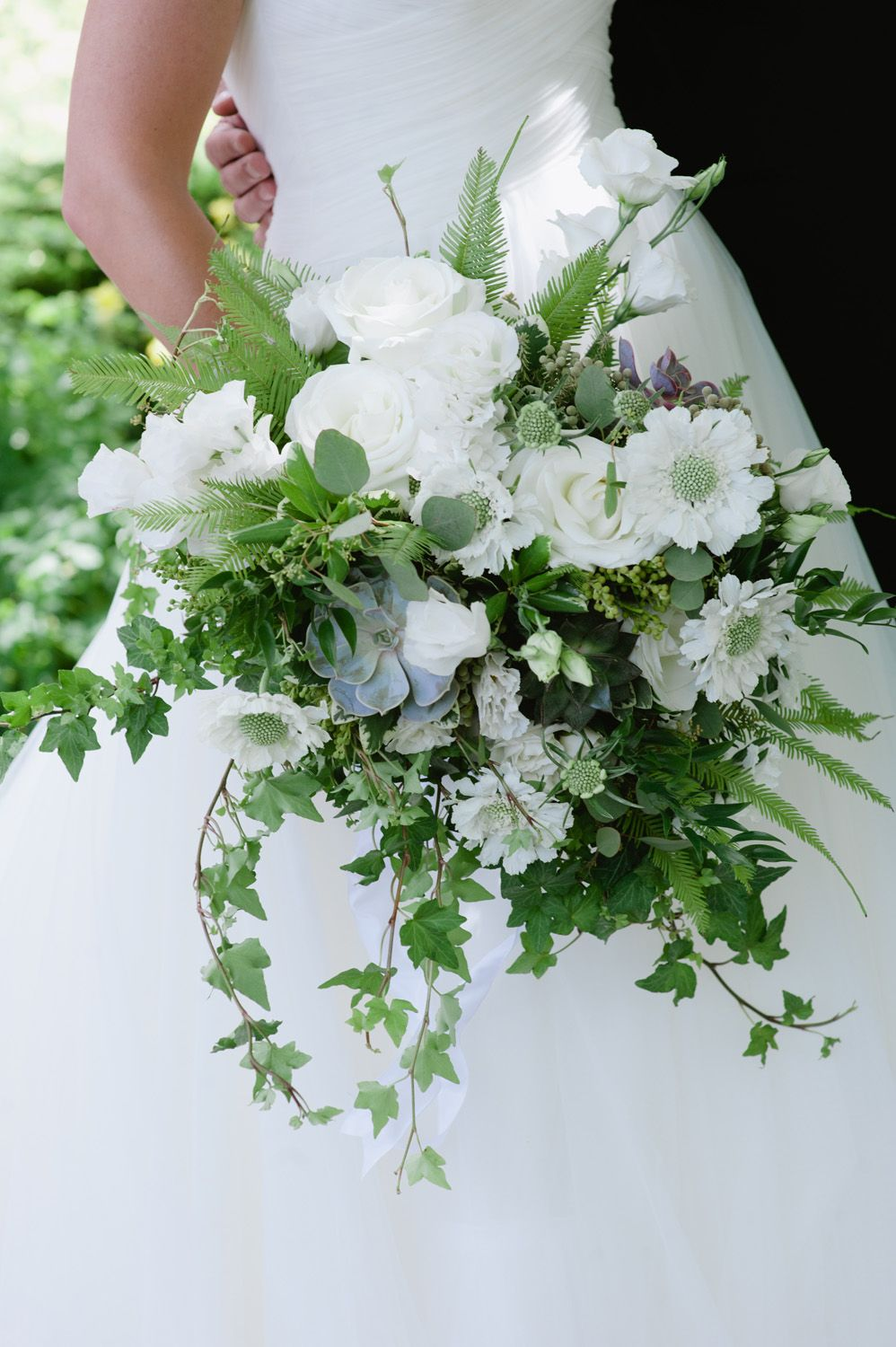 White And Green Natural Asymmetrical Bridal Bouquet Woodland