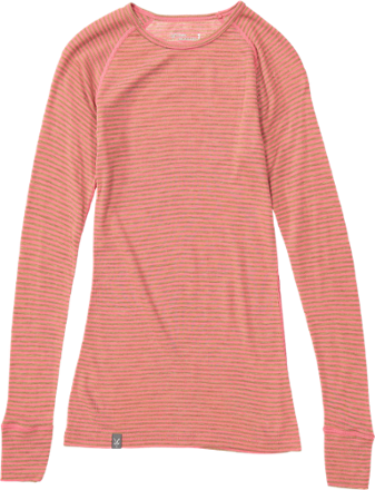 a6fde8b93a Ibex Women's Woolies 1 Long Underwear Crew Top Winter Cherry/Camel Stripe XL
