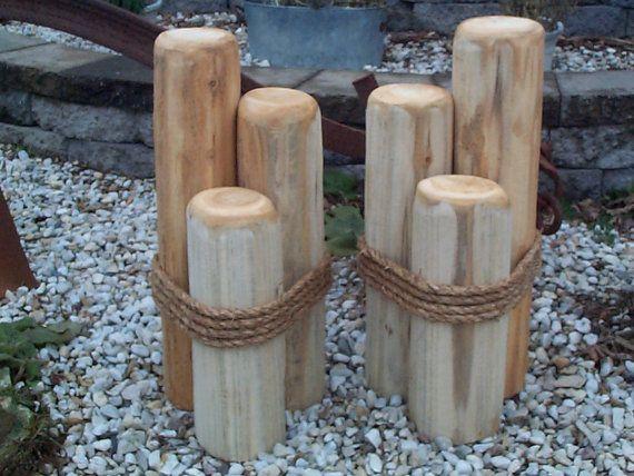 2 Wood Pilings Pier Dock Ornaments Cedar Lawn Decor Wooden