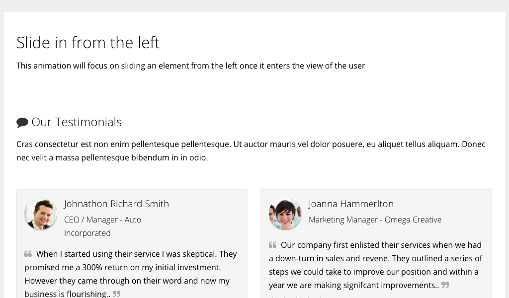 CSS animations on scroll - Slide in from left | JavaScript