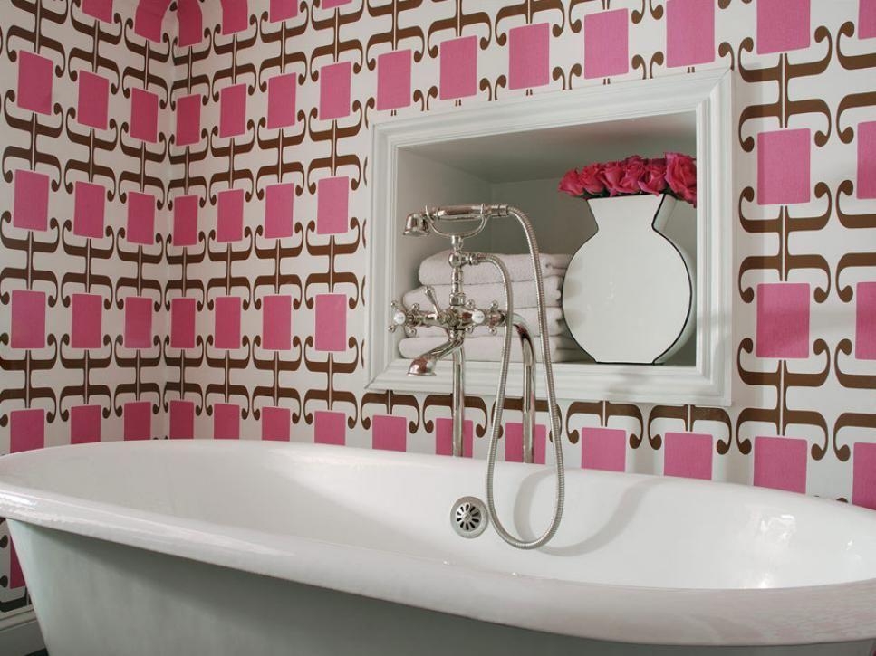 Our Favorite Bright Bold Bathrooms  Hgtv Graphic Wallpaper And Prepossessing Small Bathroom Wallpaper Ideas Design Inspiration
