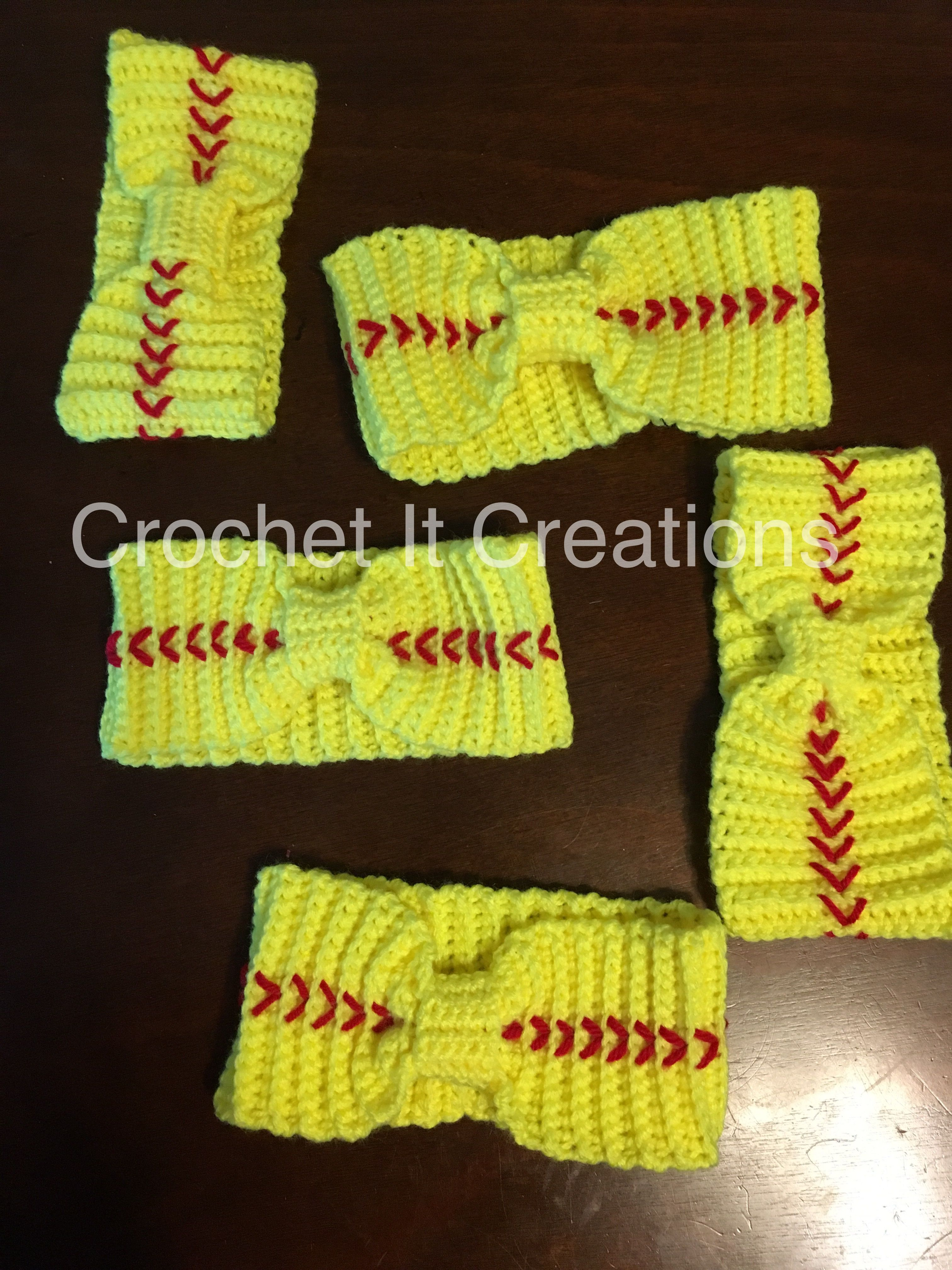 Crochet softball ear warmer from Crochet It creations. Visit www ...