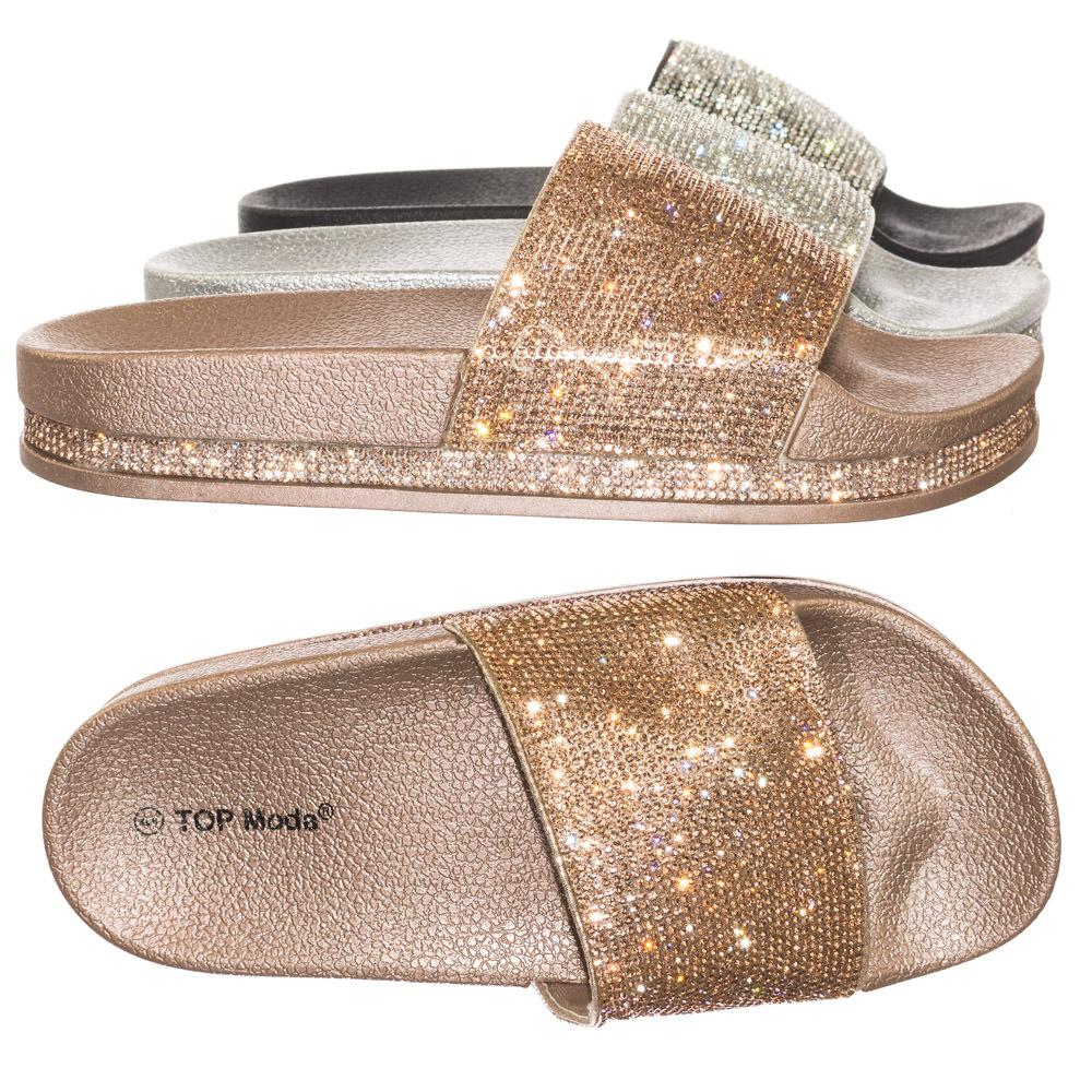 2d5afa8c50af5e Hiram1 Rhinestone Slide In PVC Molded Footbed Flatform Sandal Slippers   women  shoes  sandal  flat  slip  slipper  footbed  molded  rhinestone   layered ...