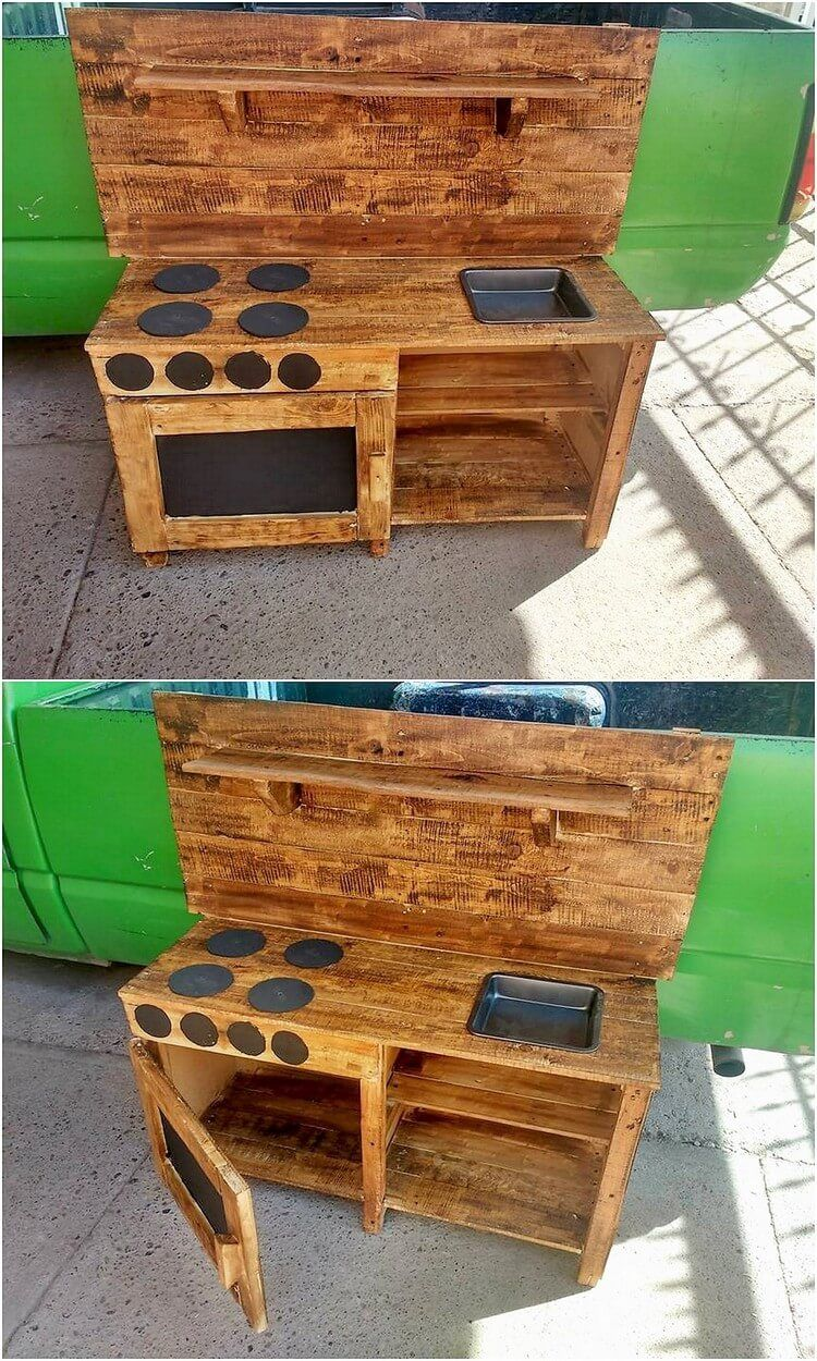 Most of the kids mud kitchen designs are also manufactured with the usage of the wood pallet material in it this does give out the whole kids kitchen set