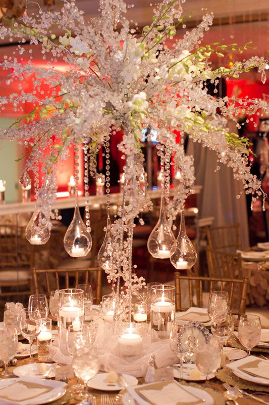 Centerpieces White Hanging Tea Lights Teardrop Globes Gold Chiavari Chairs Crystal Branches Beaded