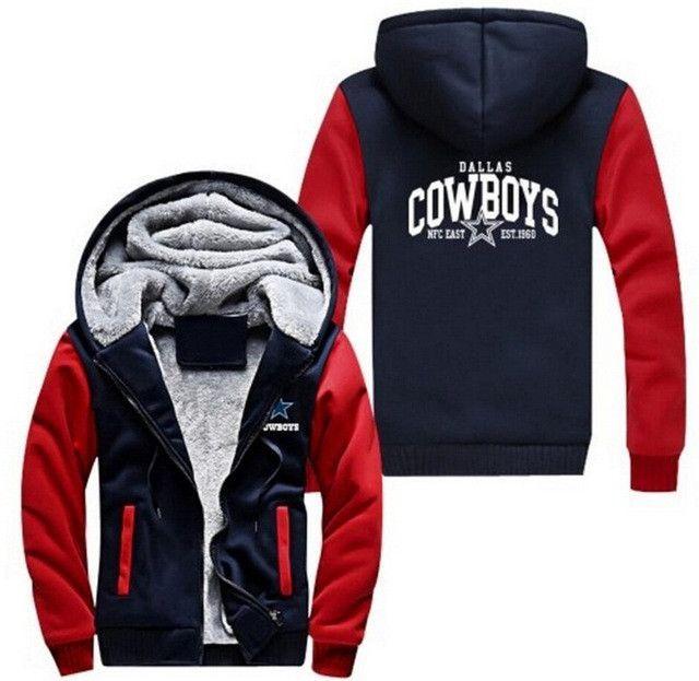 USA size Dallas Cowboys Zipper Jacket Sweatshirts Printing Pattern Thicken Fleece Hoodie Coat