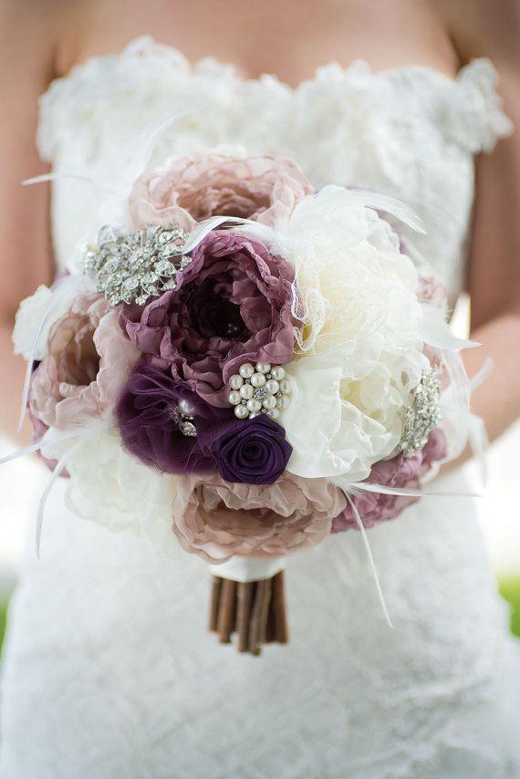 Custom Eggplant Brooch Bouquet, Purple Fabric Flower Bouquet, Peony ...