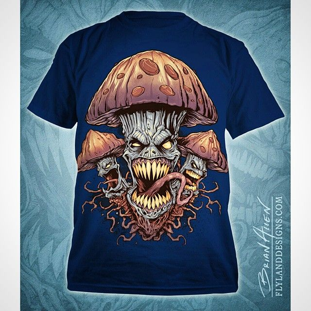 Finished t shirts design of evil mushrooms i created for for How to design t shirts in illustrator