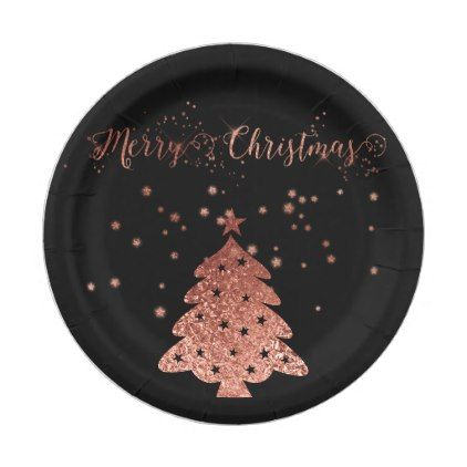 Merry Christmas Glam and Glitter Pink and Black Paper Plate  sc 1 st  Pinterest & Merry Christmas Glam and Glitter Pink and Black Paper Plate | Black ...