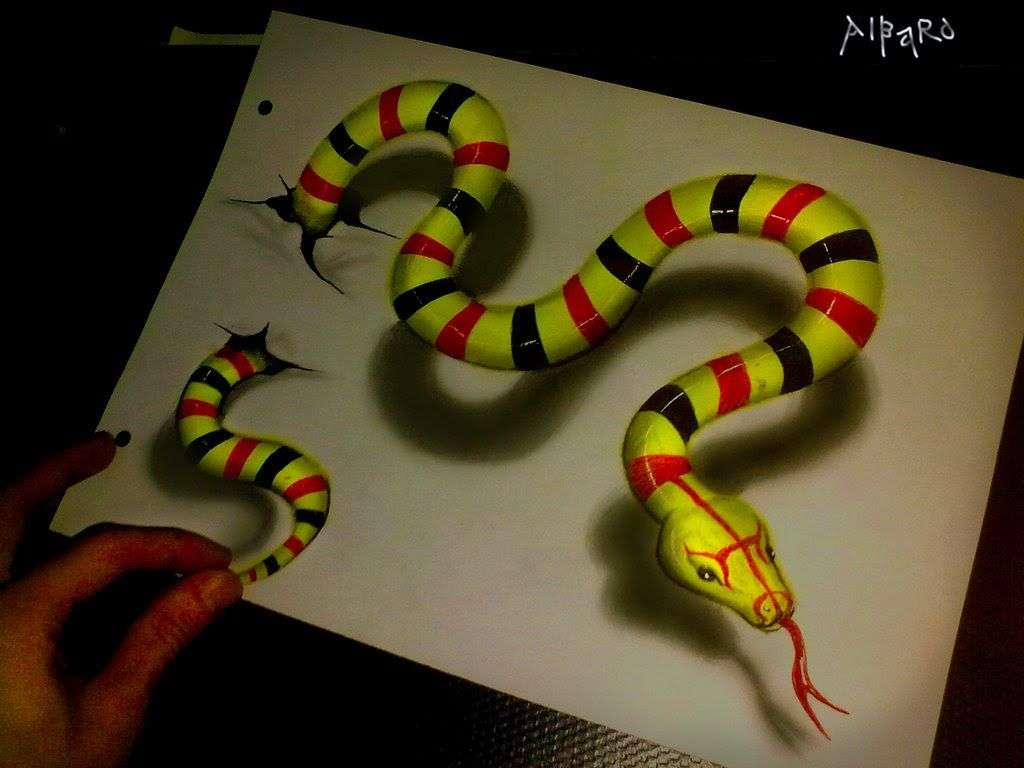 Realistic 3d Drawing Green Snake Time Lapse 3d Drawings