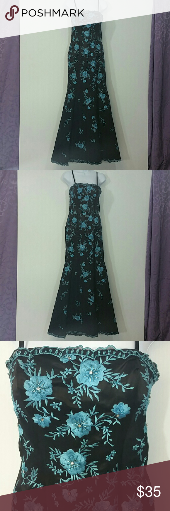 Turquoise/Black Floral/crystal bead Mermaid Dress This Dress is beautiful and glamorous! It has a very forgiving frame that is enhanced with crystal beaded turquoise embroider Flowers. It measures 58 inches from shoulder to hem. This would look amazing at prom or school dance!:) L' Pogue  Dresses Prom