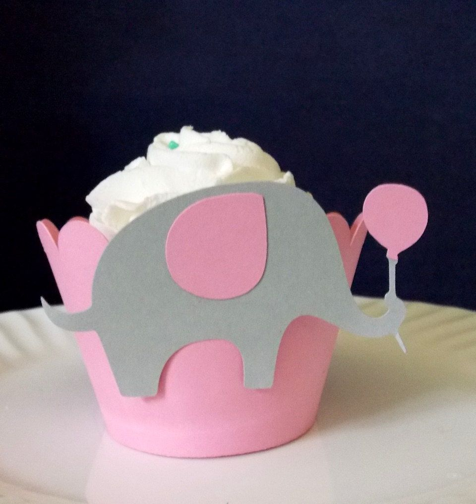 Pink Grey Cupcake Wrapper Elephant Cupcake Decorations Girl 1st