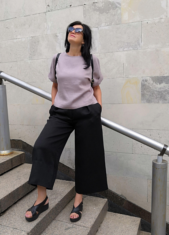 Linen loose trousers linen capris loose fit womens pants