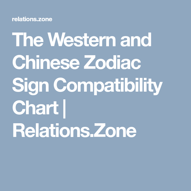 The Western And Chinese Zodiac Sign Compatibility Chart Relations