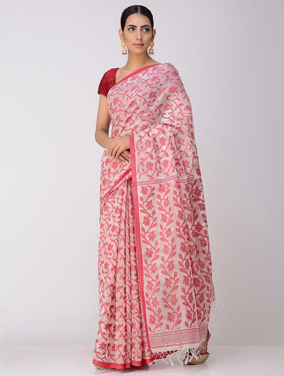 220591d6993 Buy Ivory Red Dhakai Jamdani Cotton Saree Sarees Woven A Heritage kota  muslin and silk dupattas Online at Jaypore.com