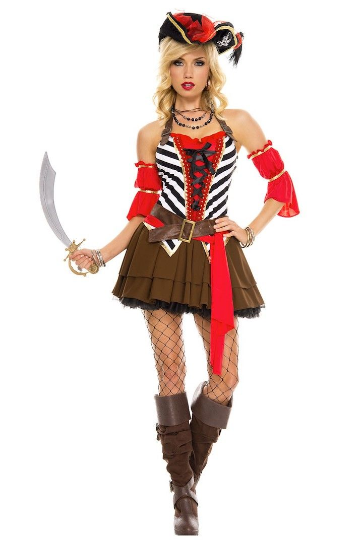 SWEET BUCCANEER LADY PIRATE ADULT HALLOWEEN COSTUME ONE SIZE FITS UP TO 14//16