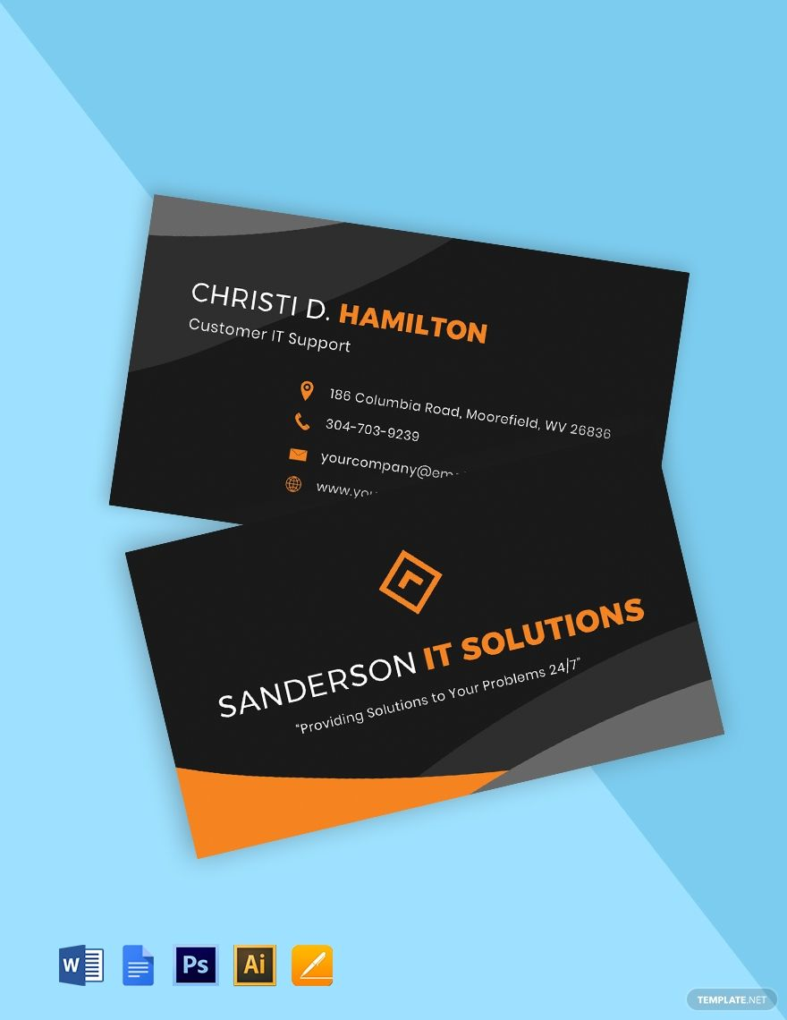 It Support Business Card Template Google Docs Illustrator Word Apple Pages Psd Template Net Business Card Template Printable Business Cards Make Business Cards