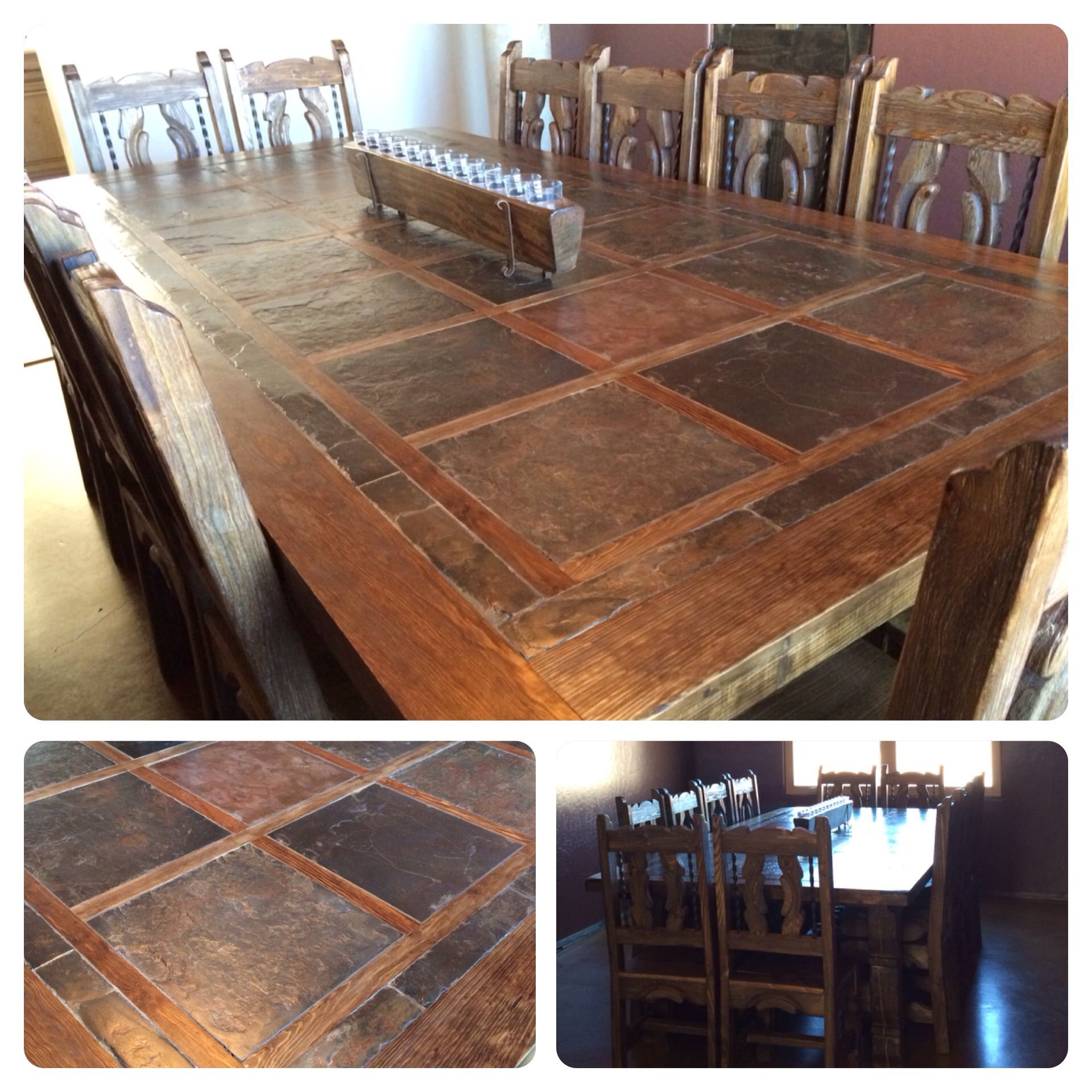 Rustic, Custom Dining Room Table. Seats 12. Slate Top