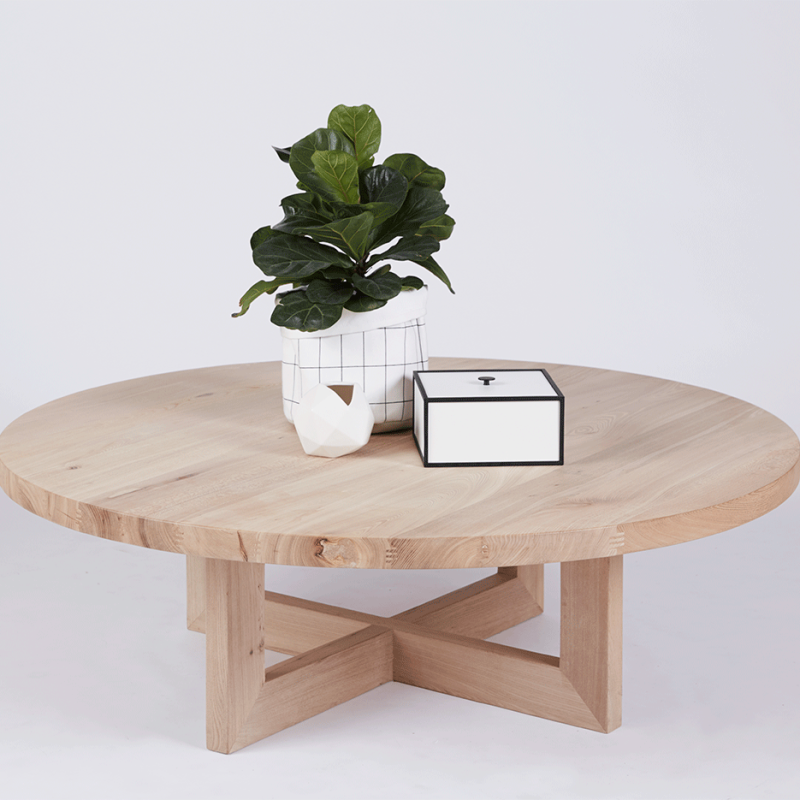 This Modern And Designer Round Oak Coffee Table Is Crafted From Solid Hardwood Timbe Coffee Table Inspiration Round Wooden Coffee Table Round Wood Coffee Table