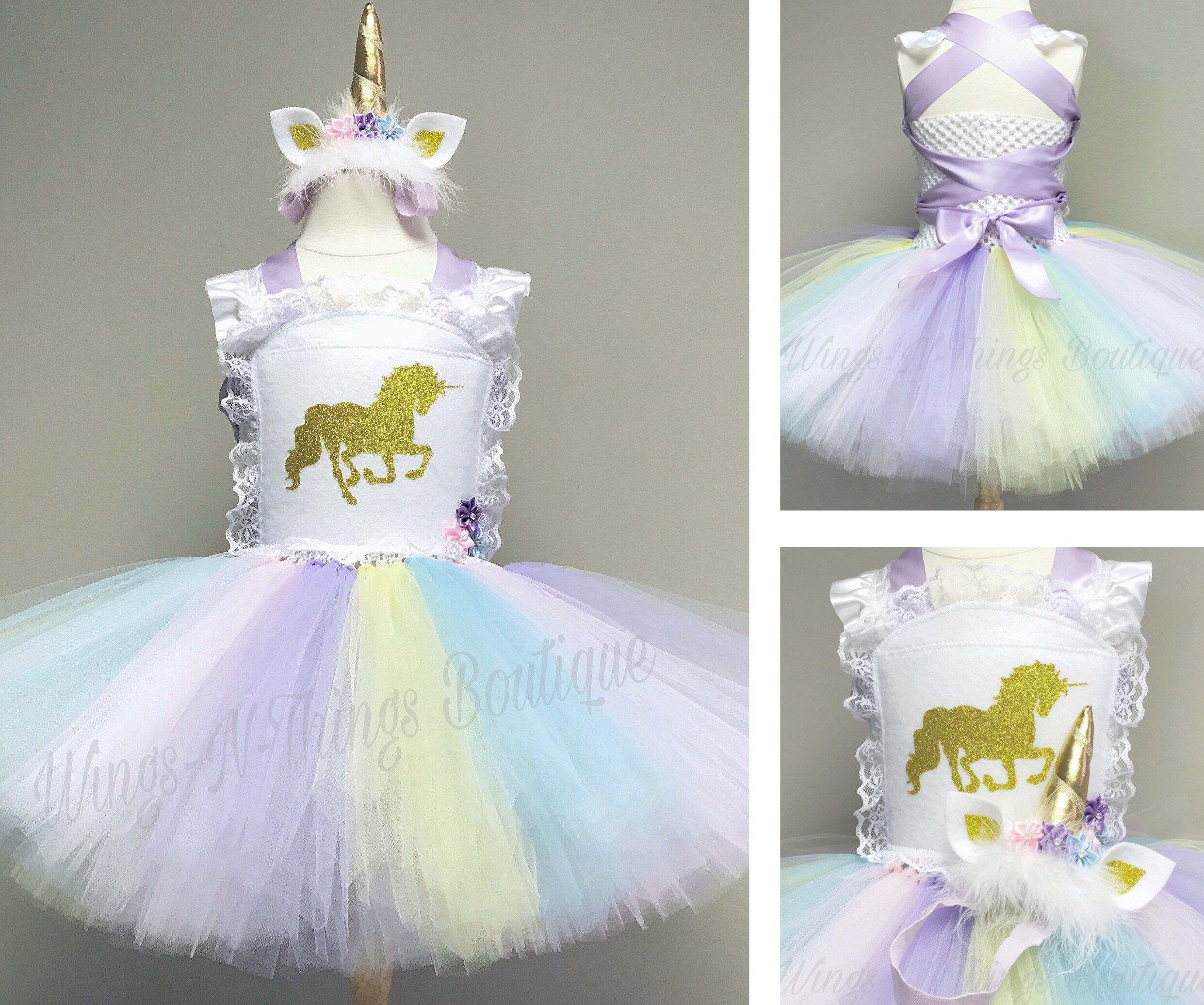 8f69e5257981f BABY UNICORN DRESS W/ Unicorn Horn Headband Tutu Dress Kids Halloween  Costume Toddler Girls Infant Babies First Birthday
