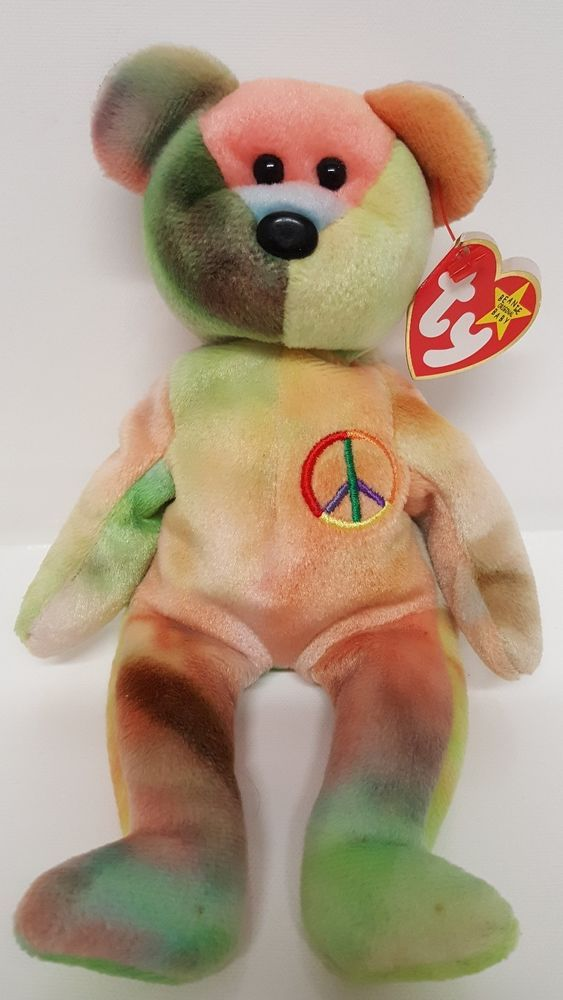 Peace Bear Ty Beanie Babies Retired Unique Color February 1st 1996 Birthday  Baby  Ty 33ab6aa87b8b