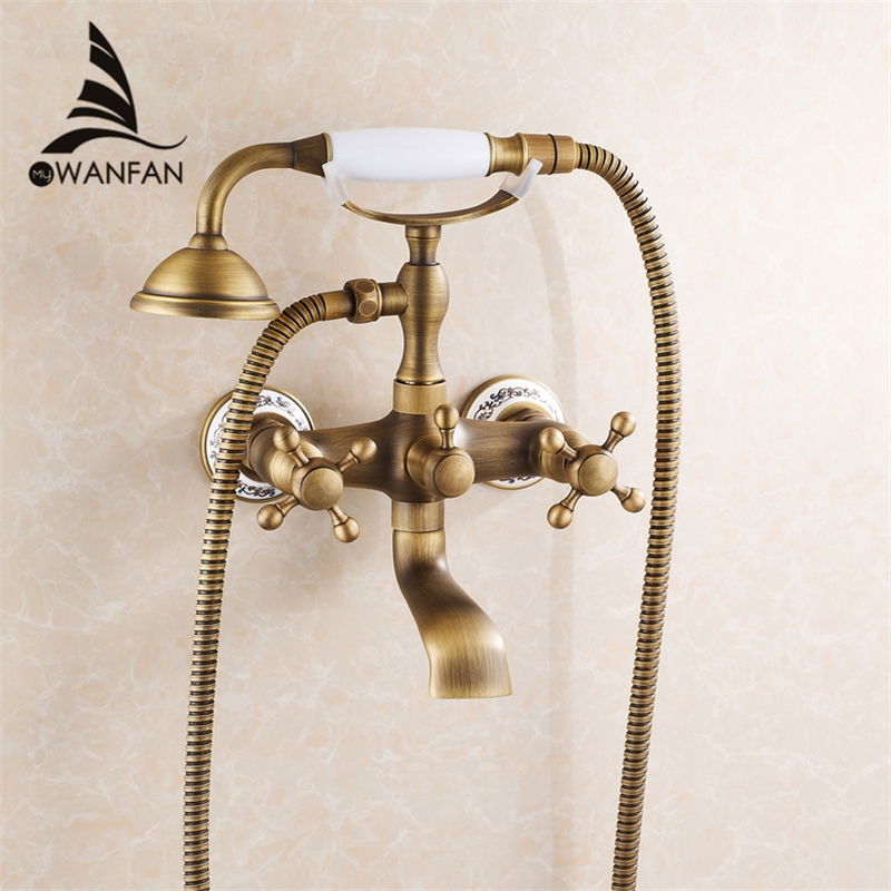 86.80$  Buy now - http://alidxw.worldwells.pw/go.php?t=32276408675 - New arrival Rain Shower Faucets with ceramic Mixer Tap Antique Brass Bath Shower Faucet Set bathtub faucet 6761AF Free shipping