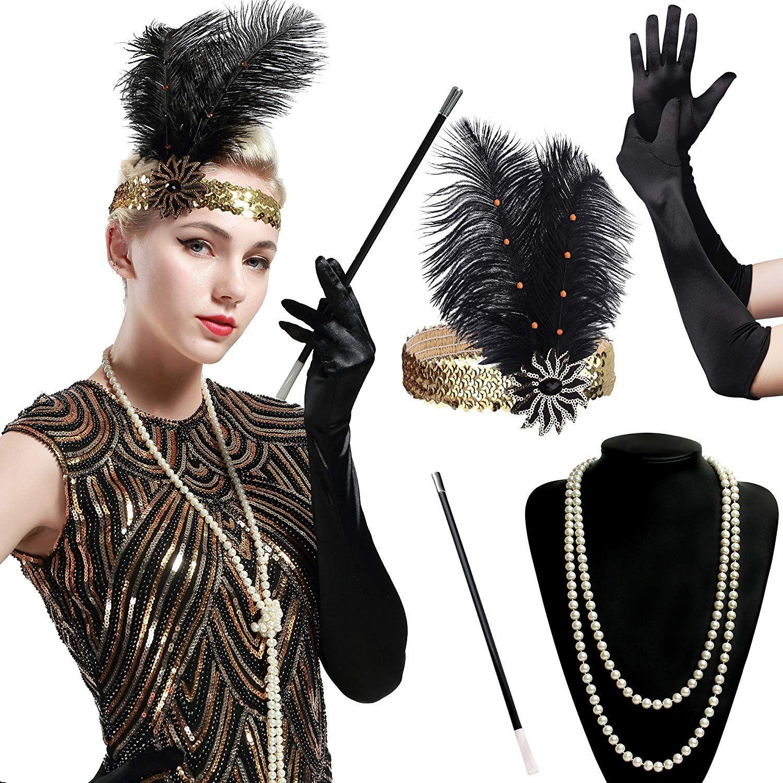 Women/'s White 1920s Flapper 3 PCs Set Charleston Gatsby Fancy Dress  Accessory
