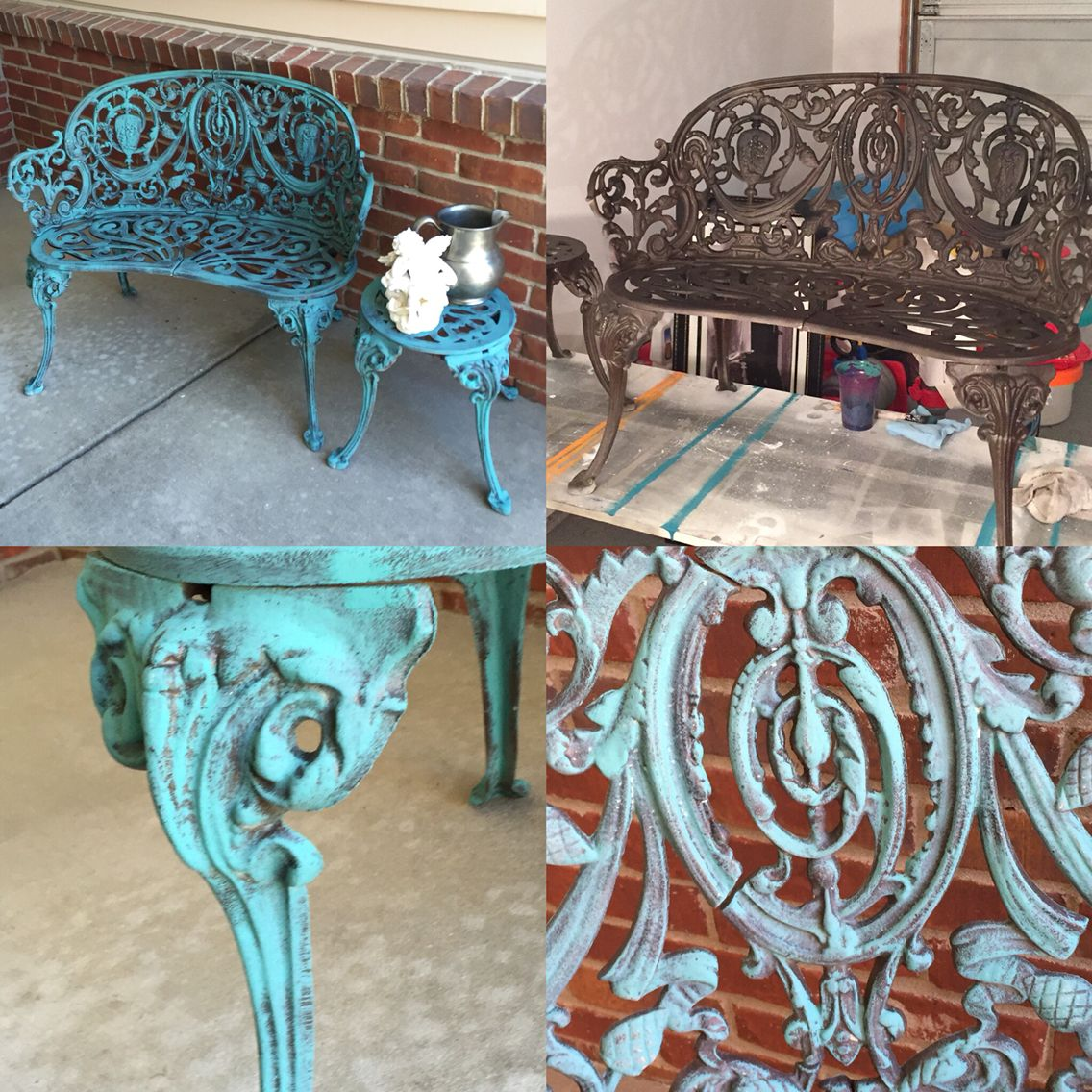 Wrought Iron Garden Bench And Table. Chalk Paint Custom