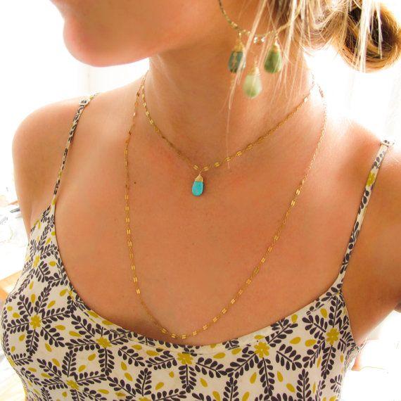 Turquoise Choker Double Wrap Pendant  14K Gold by delialangan, $86.00