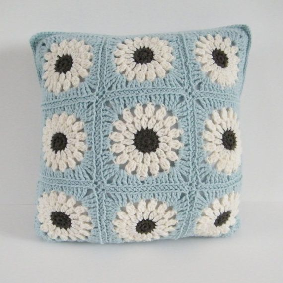 Flower Cushion Crochet Made to Order by fourlinesandaloop on Etsy, £34.00