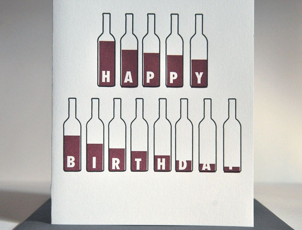 For Your Next Bday Xoxo Bottle Of Wine Birthday Card Lovers Letterpress 450 Via Etsy