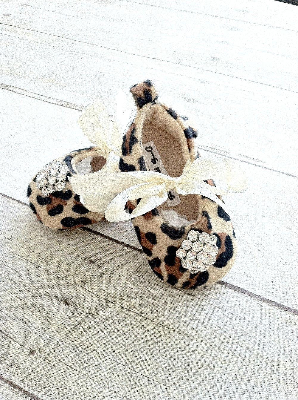 Leopard Baby Girl Shoes Little Girls crib shoes Ballet Slippers Soft Sole Vintage Crystal Leopard  Newborn-Infant Children- Baby Shower Gift. $19.99, via Etsy.