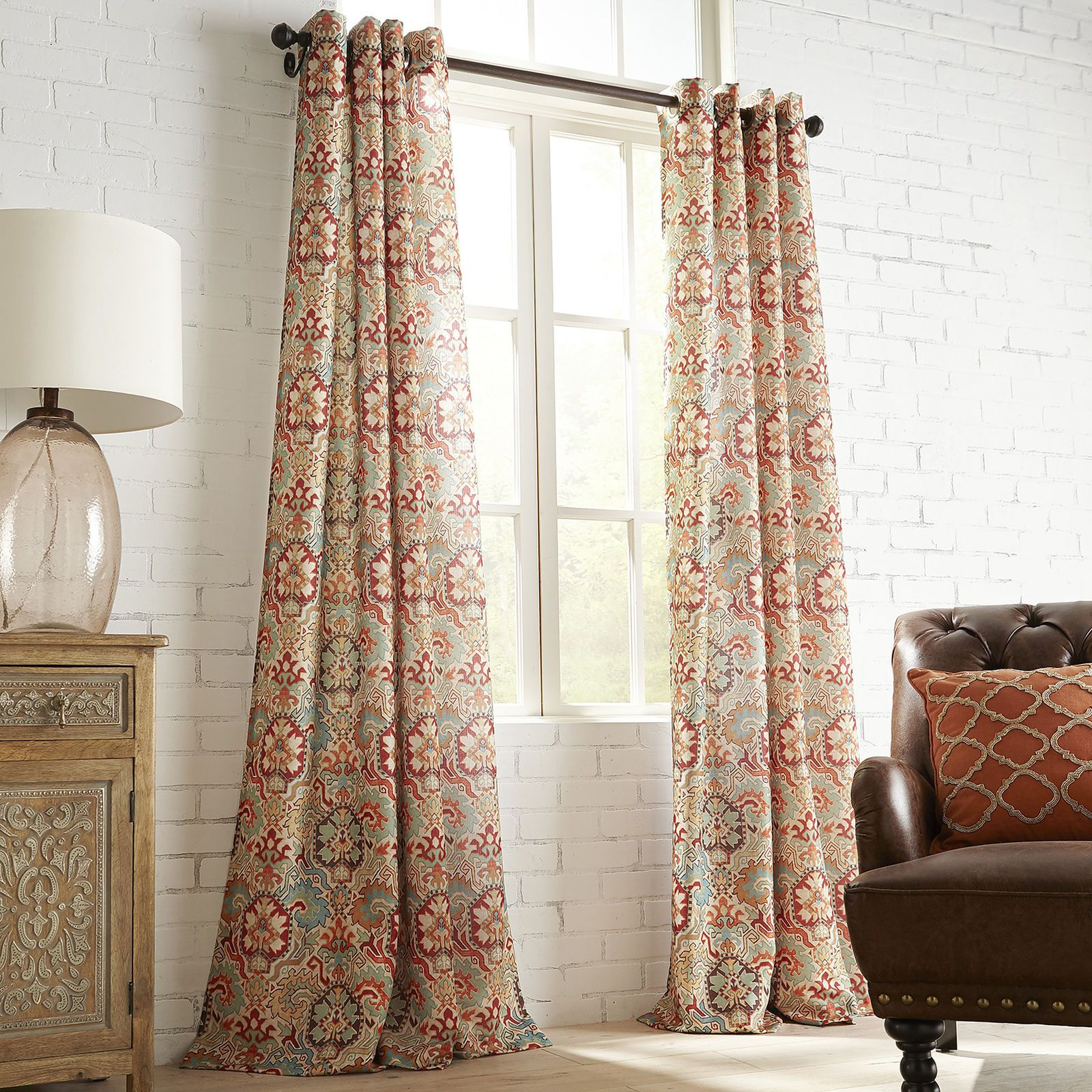 Patterned curtains living room - Window