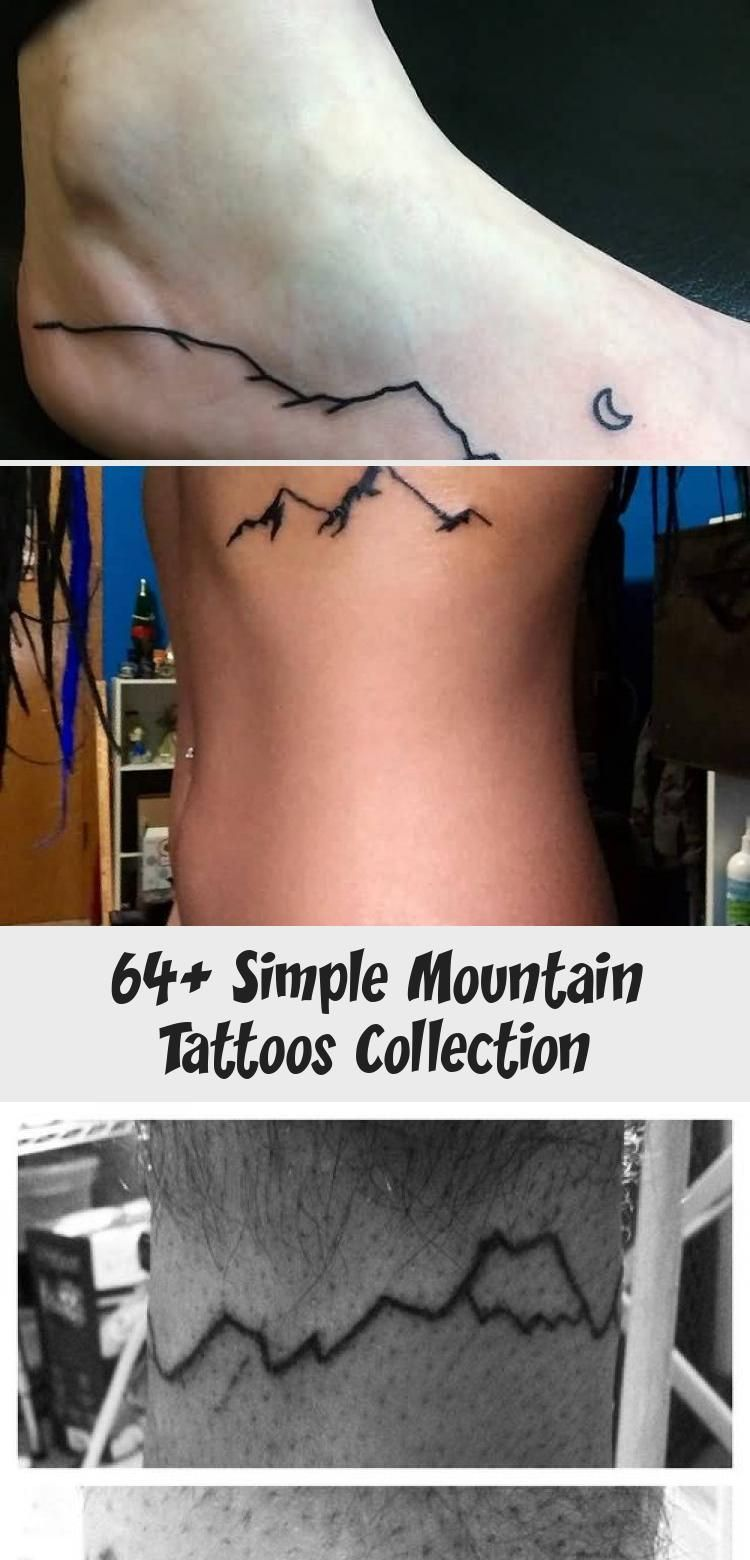 Photo of Simple Black Line Mountains Tattoo On Bicep By Jessica Channer #blacktattooAnkle…