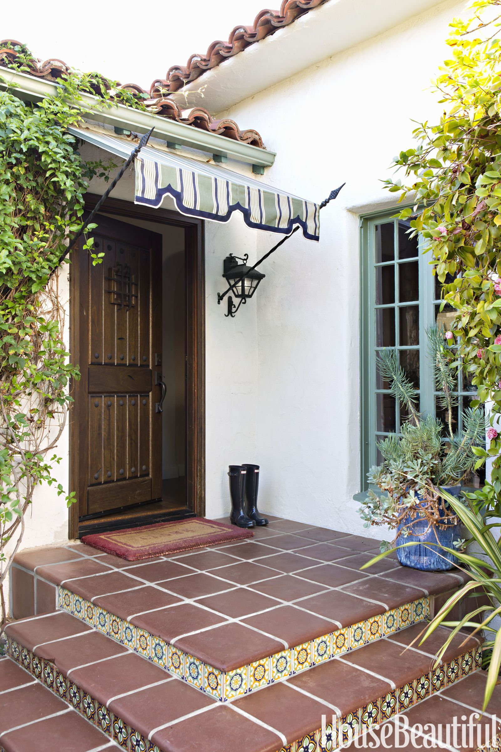 Spanish Bungalow Blue Awnings Google Search Spanish Style Homes Spanish Bungalow Mediterranean Homes