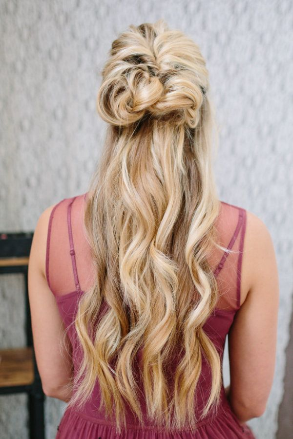 A stunning half up, half down style for the big day.